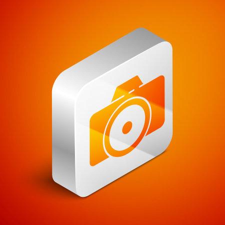 Isometric Photo camera icon isolated on orange background. Foto camera icon. Silver square button. Vector Illustration