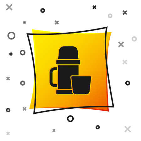 Black bottle container and cup icon isolated on white background.  flask icon. Camping and hiking equipment. Yellow square button. Vector Illustration