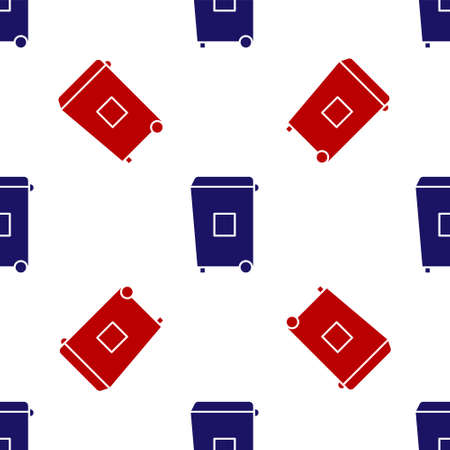 Blue and red Trash can icon isolated seamless pattern on white background. Garbage bin sign. Recycle basket icon. Office trash icon. Vector Illustration