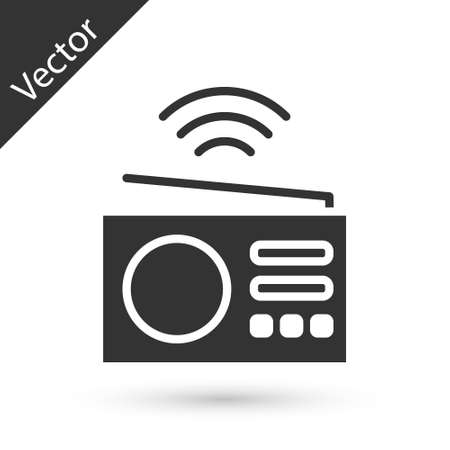 Grey Smart radio system icon isolated on white background. Internet of things concept with wireless connection. Vector