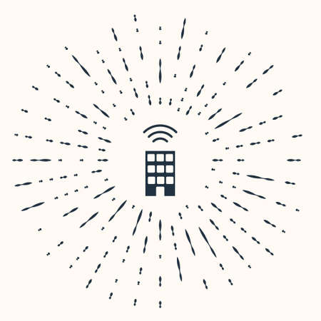 Grey Smart home with wireless icon isolated on beige background. Remote control. Internet of things concept with wireless connection. Abstract circle random dots. Vector 일러스트