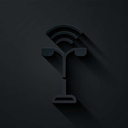 Paper cut Smart street light system icon isolated on black background. Internet of things concept with wireless connection. Paper art style. Vector
