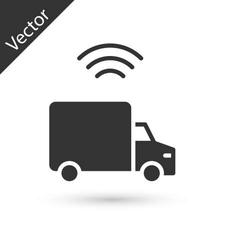 Grey Smart delivery cargo truck vehicle with wireless connection icon isolated on white background. Vector 일러스트