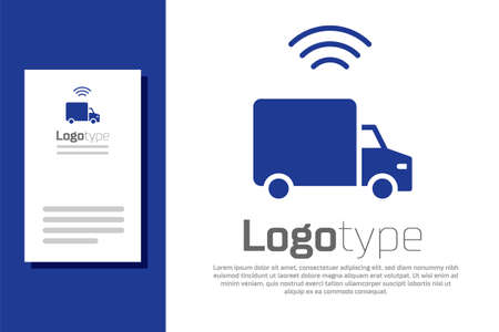 Blue Smart delivery cargo truck vehicle with wireless connection icon isolated on white background. Logo design template element. Vector