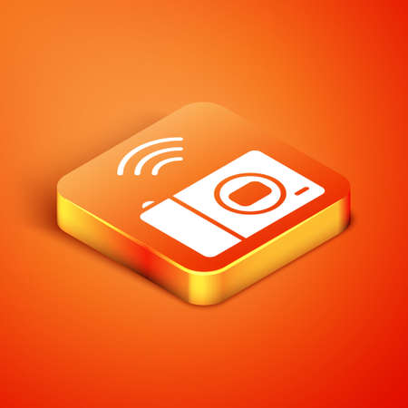 Isometric Smart photo camera system icon isolated on orange background. Internet of things concept with wireless connection. Vector