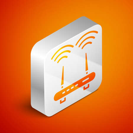 Isometric Router and wifi signal icon isolated on orange background. Wireless   modem router. Computer technology internet. Silver square button. Vector