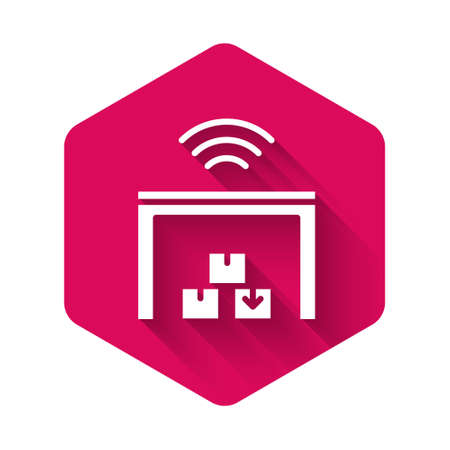 White Smart warehouse system icon isolated with long shadow. Pink hexagon button. Vector 일러스트