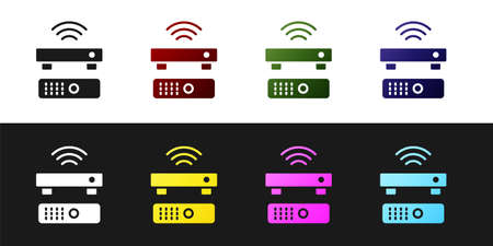 Set Wireless multimedia and TV box receiver and player with remote controller icon isolated on black and white background. Vector