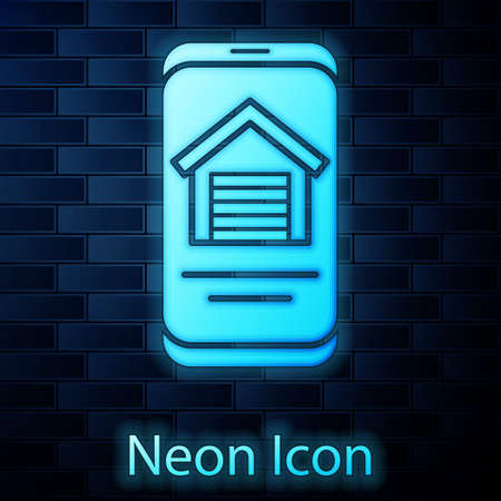 Glowing neon Online real estate house on smartphone icon isolated on brick wall background. Home loan concept, rent, buy, buying a property. Vector