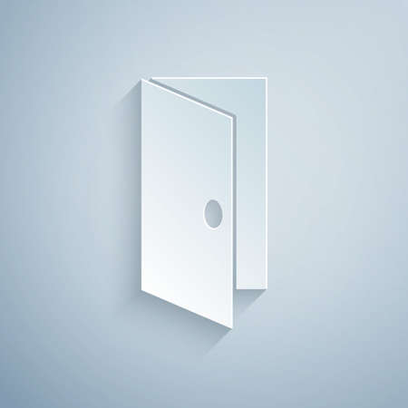 Paper cut Closed door icon isolated on grey background. Paper art style. Vector