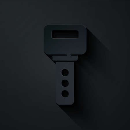 Paper cut House key icon isolated on black background. Paper art style. Vector