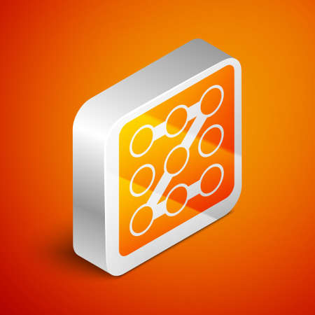 Isometric Graphic password protection and safety access icon isolated on orange background. Security, safety, protection, privacy concept. Silver square button. Vector