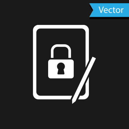White Graphic tablet with closed padlock icon isolated on black background. Phone with lock. Mobile security, safety, protection concept. Vector
