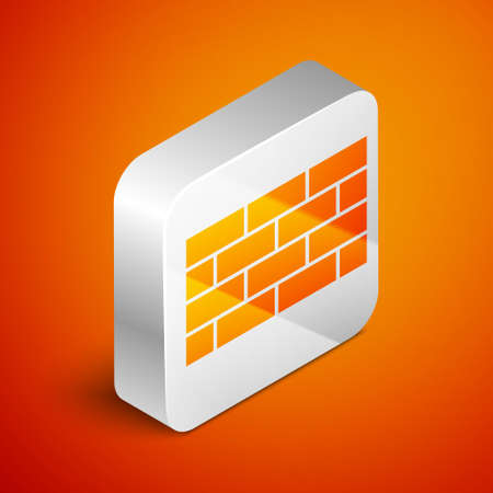 Isometric Firewall, security wall icon isolated on orange background. Silver square button. Vector