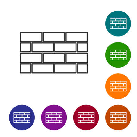 Black line Firewall, security wall icon isolated on white background. Set icons in color circle buttons. Vector 일러스트