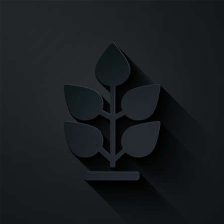 Paper cut Plant icon isolated on black background. Seed and seedling. Leaves sign. Leaf nature. Paper art style. Vector