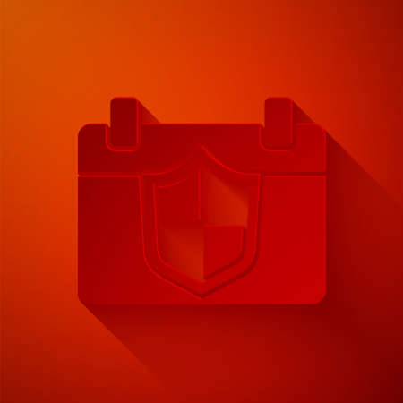 Paper cut Calendar with shield icon isolated on red background. Insurance concept. Guard sign. Security, safety, protection, privacy concept. Paper art style. Vector.