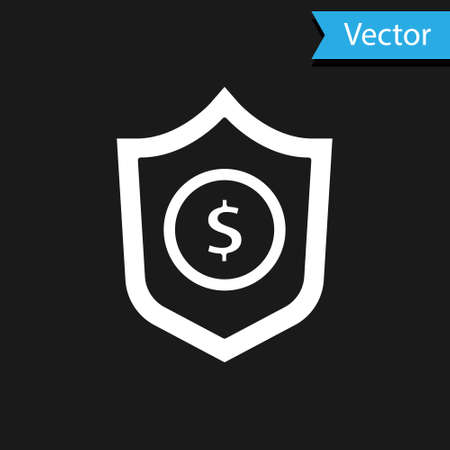 White Shield with dollar symbol icon isolated on black background. Security shield protection. Money security concept. Vector. 일러스트