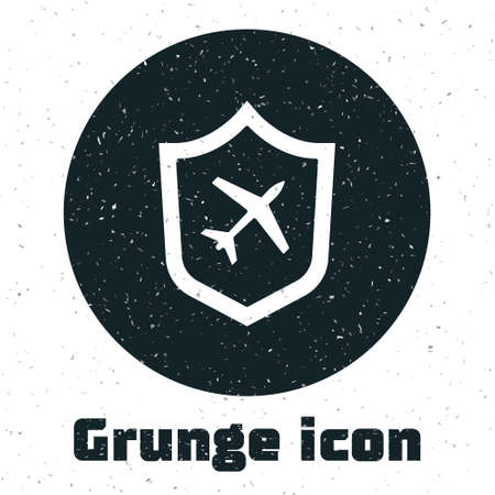 Grunge Plane with shield icon isolated on white background. Flying airplane. Airliner insurance. Security, safety, protection, protect concept. Monochrome vintage drawing. Vector.