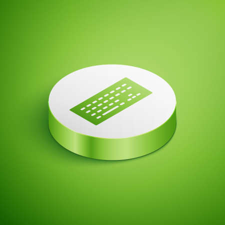 Isometric Computer keyboard icon isolated on green background. PC component sign. White circle button. Vector