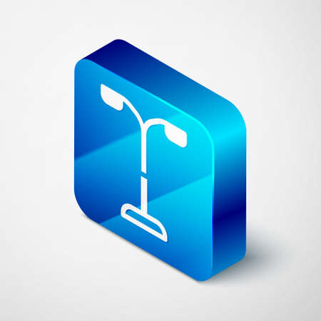 Isometric Street light system icon isolated on grey background. Blue square button. Vector