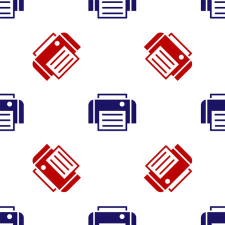 Blue and red Printer icon isolated seamless pattern on white background. Vector 일러스트