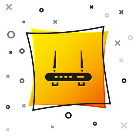 Black Router and wifi signal icon isolated on white background. Wireless   modem router. Computer technology internet. Yellow square button. Vector