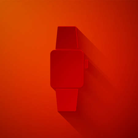 Paper cut Smartwatch icon isolated on red background. Paper art style. Vector 일러스트