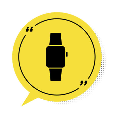 Black Smartwatch icon isolated on white background. Yellow speech bubble symbol. Vector