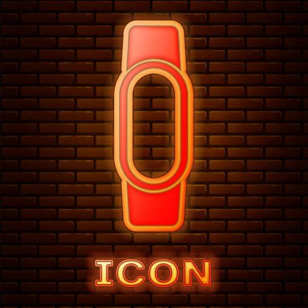Glowing neon Smartwatch icon isolated on brick wall background. Vector