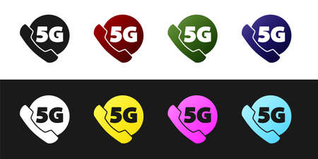 Set Phone with 5G new wireless internet wifi icon isolated on black and white background. Global network high speed connection data rate technology. Vector