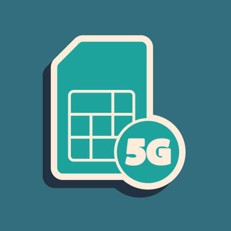 Green 5G Sim Card icon isolated on green background. Mobile and wireless communication technologies. Network chip electronic connection. Long shadow style. Vector