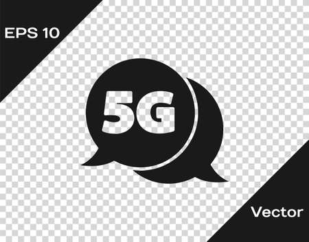 Black 5G new wireless internet wifi connection icon isolated on transparent background. Global network high speed connection data rate technology. Vector 일러스트