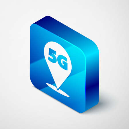 Isometric Location 5G new wireless internet wifi connection icon isolated on grey background. Global network high speed connection data rate technology. Blue square button. Vector