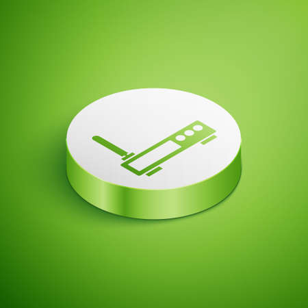 Isometric Router and wifi signal icon isolated on green background. Wireless   modem router. Computer technology internet. White circle button. Vector