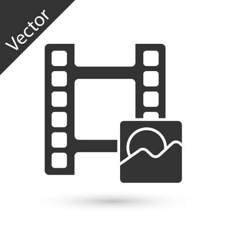 Grey Play Video icon isolated on white background. Film strip sign. Vector  イラスト・ベクター素材