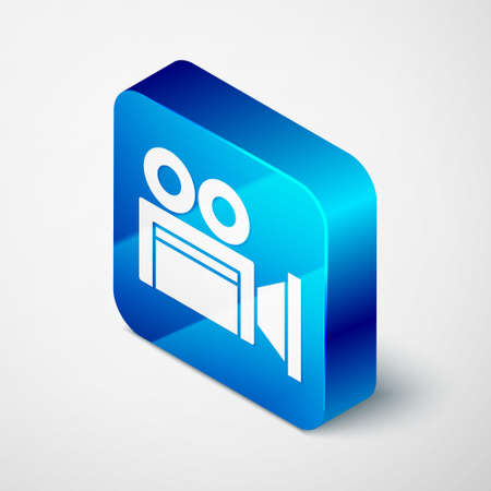 Isometric Cinema camera icon isolated on grey background. Video camera. Movie sign. Film projector. Blue square button. Vector Çizim