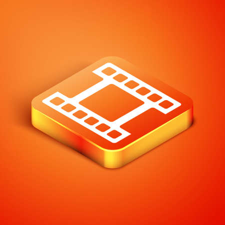 Isometric Play Video icon isolated on orange background. Film strip sign. Vector  イラスト・ベクター素材