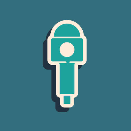Green Microphone icon isolated on green background. On air radio mic microphone. Speaker sign. Long shadow style. Vector