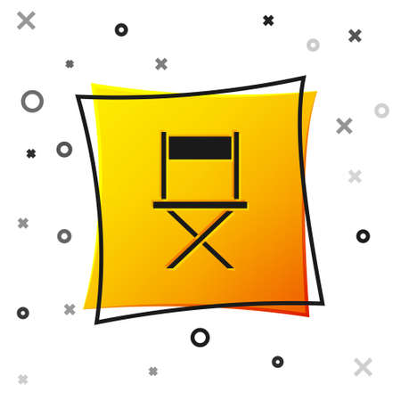 Black Director movie chair icon isolated on white background. Film industry. Yellow square button. Vector