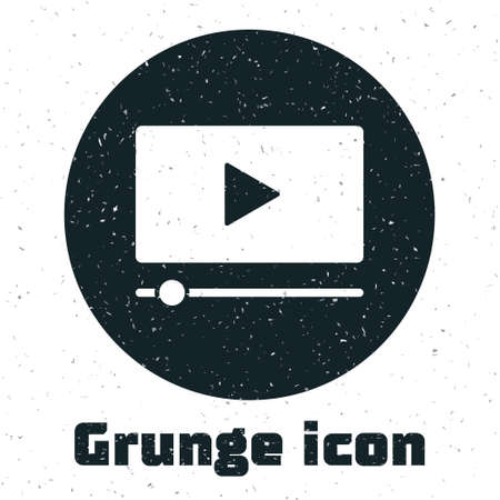 Grunge Online play video icon isolated on white background. Film strip with play sign. Monochrome vintage drawing. Vector