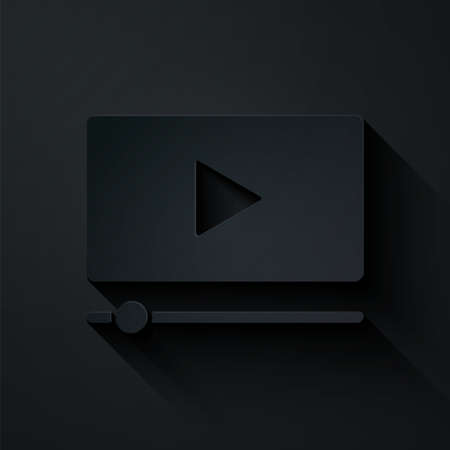 Paper cut Online play video icon isolated on black background. Film strip with play sign. Paper art style. Vector