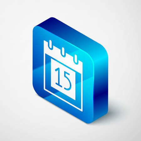 Isometric Happy Independence day India icon isolated on grey background. Flyer design for 15th August. Blue square button. Vector