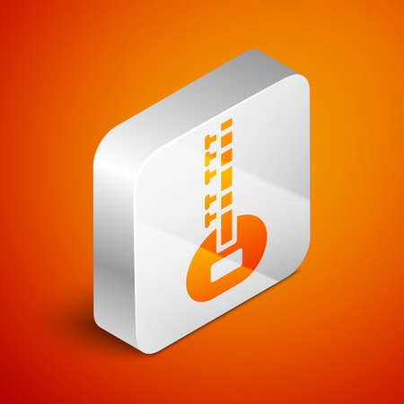 Isometric Sitar classical music instrument icon isolated on orange background. Silver square button. Vector