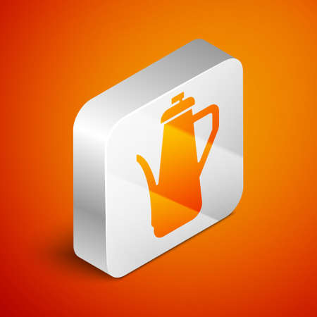 Isometric Teapot icon isolated on orange background. Silver square button. Vector