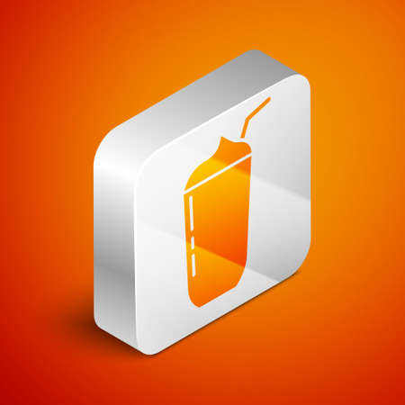 Isometric Milkshake icon isolated on orange background. Plastic cup with lid and straw. Silver square button. Vector Çizim