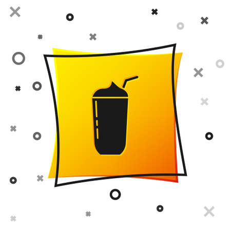 Black Milkshake icon isolated on white background. Plastic cup with lid and straw. Yellow square button. Vector