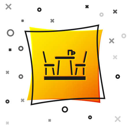 Black French cafe icon isolated on white background. Street cafe. Table and chairs. Yellow square button. Vector
