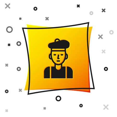 Black French man icon isolated on white background. Yellow square button. Vector