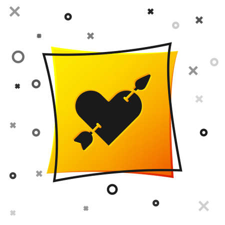 Black Amour symbol with heart and arrow icon isolated on white background. Love sign. Valentines symbol. Yellow square button. Vector
